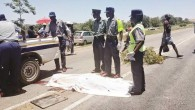 Police details prepare to remove the body of Peter Gusha Mufandirwa from the accident scene in Masvingo (The Chronicle)