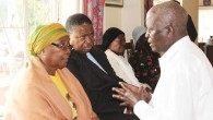 Trademan Moyo son to the late Tafi Moyo speaks to the Bulawayo Minister of State for Provincial Affairs Nomthandazo Moyo and former diplomat Ambassador Phelekezela Mphoko about the passing on of his father at the family residence in Famona (Picture by The Chronicle)