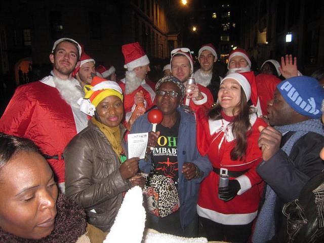Zimbabwe Vigil activsts in Christmas attire