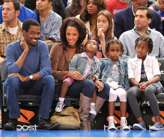 Comedian Chris Rock, his wife Malaak Compton-Rock and their kids enjoyed the Philadelphia 76ers vs NY Knicks Game at Madison Square Garden
