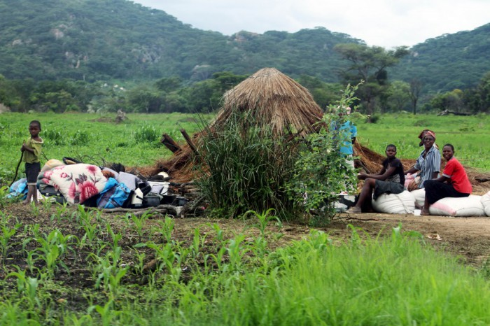 Hopeless villagers sit besides a razed hut at Manzou farm in Mazowe (Picture by Shepherd Tozvireva - NewsDay)