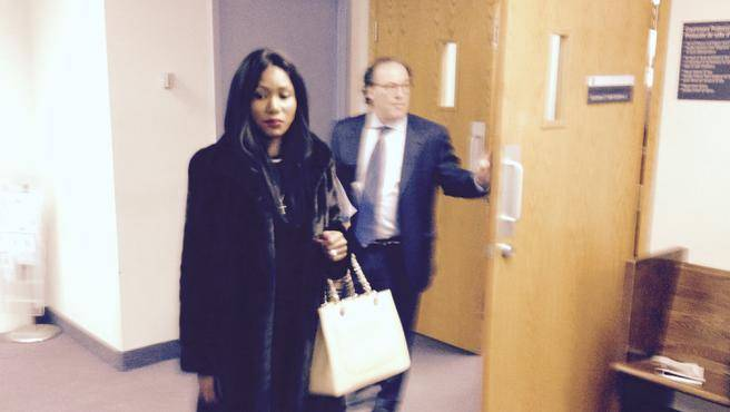 Nomantangwa Johansson of South Africa leaves Dartmouth provincial court