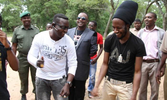 Suluman Chimbetu, Somandla Ndebele and Winky D enjoy themselves during the retreat