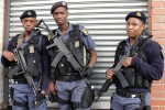 A tactical unit from Central Johannesburg police station on ground patrol in Bree Taxi Rank
