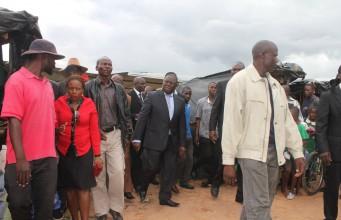 Opposition leader Morgan Tsvangirai visiting the shanty suburb of Epworth