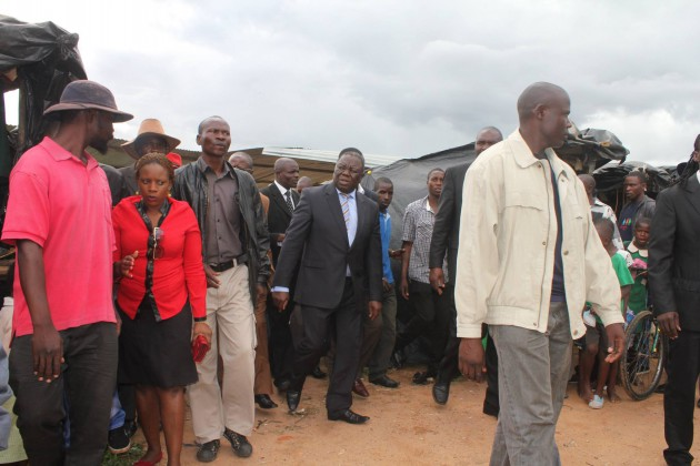 Opposition leader Morgan Tsvangirai visiting the shanty suburb of Epworth