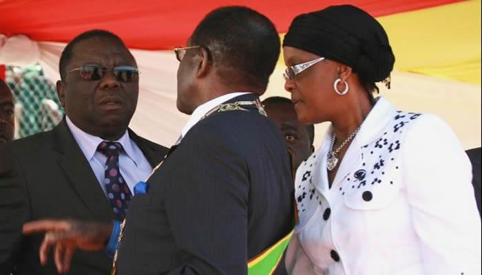 Morgan Tsvangirai, Robert and Grace Mugabe during the 2009-2013 coalition government