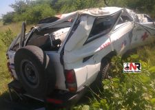 The wreckage of the ambulance in which a nurse and a patient died after it crashed along the Roy-Chiredzi Road on Wednesday (Pictures by Nehanda Citizen Reporter)