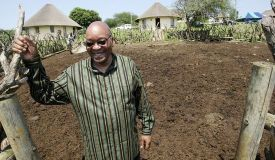 South African President Jacob Zuma at his controversial Nkandla residence
