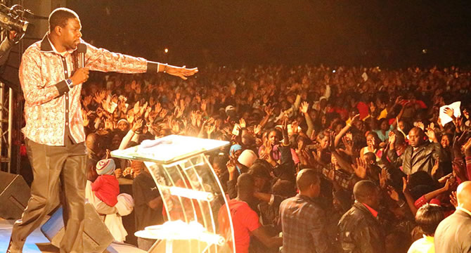 Centre of the Storm: Prophet Walter Magaya during one of his church services