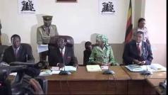 Awkward: Grace Mugabe grabs a seat at the high table