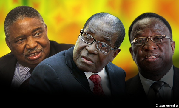 Second VP Phelekezela Mphoko, President Robert Mugabe and First VP Emmerson Mnangagwa
