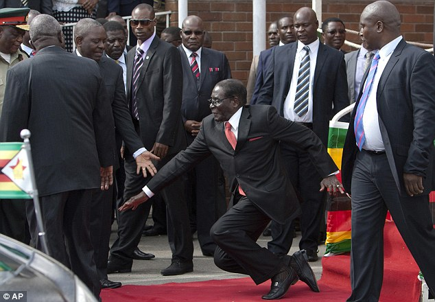 Zimbabwe's president Robert Mugabe, 91, tripped as he came down some podium stairs at the airport
