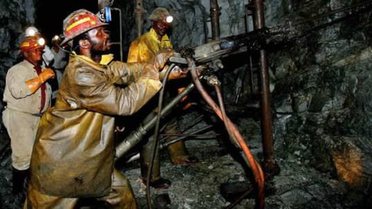 File picture of South African mine workers