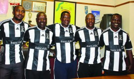 BOSSO'S TECHNICAL BENCH: From left, Sebastian Ndlovu (medic), Peter Nkomo (goalkeepers coach), Bongani Mafu (head coach), Mandla Mpofu (assistant coach) and Netsai Moyo (team manager). Picture by Resta Chikomo