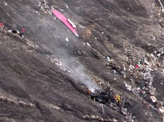A screengrab from an AFP TV video shows smoke rising from the crash site. Photograph: Denis Bois/AFP/Getty Images