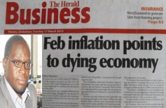 "George Chisoko's offence was to clear a report headlined ""February inflation points to a dying economy"" which was published by the Herald Business on March 16."
