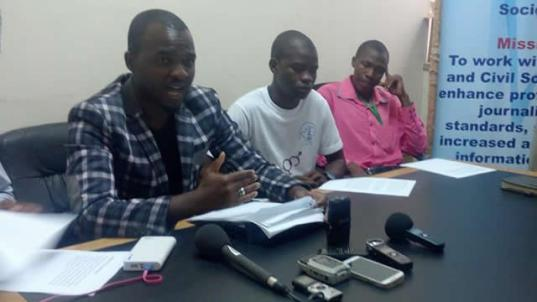 Patson Dzamara addressing press conference at the Media Centre in Harare on Monday