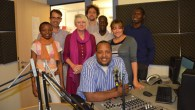 Gerry Jackson (third from left) with staff from SW Radio Africa