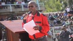 Zimbabwe Congress of Trade Unions president George Nkiwane makes an address at Gwanzura Stadium (Picture by NewsDay)