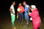 PULLING THE PLUG . . . Referee Pedzisai Chadya informs Dynamos' captain Augustine Mbara (right) and his FC Platinum counterpart Aaron Katebe of his decision to call off the Uhuru Cup final after a power outage. — Picture by Kudakwashe Hunda