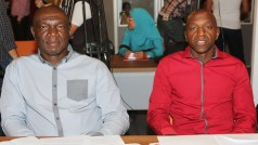 Footballers Union of Zimbabwe (FUZ) Secretary General Paul Gundani seen here with Desmond Maringwa (President)