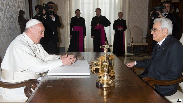 The Pope was speaking during his first official meeting with President Mattarella