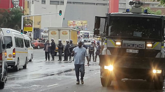 Police broke up a legal march against xenophobia in Durban