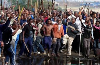 A mob on the rampage in Ramaphosa, Johannesburg.