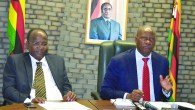 Mis-Information Minister Jonathan Moyo seen here with Minister Without Finance Patrick Chinamasa