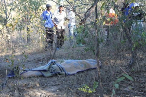 The late Muziwethu Hlongwane's covered body