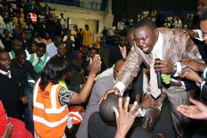 Walter Masocha during an Agape church service