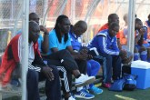 UNDER SEVERE PRESSURE . . . Dynamos coach David Mandigora (left) sits on his team's bench as he watches his Glamour Boys turn on a lifeless display in a Castle Lager Premiership tie that angered their supporters at Rufaro yesterday