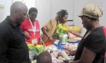 Amson Siambwele attends to customers at his ZITF stand