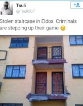 """The """"stolen staircase"""" photo was widely shared on social media"""
