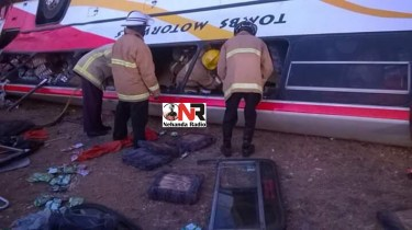 Members of the Fire Brigade try to rescue trapped passengers