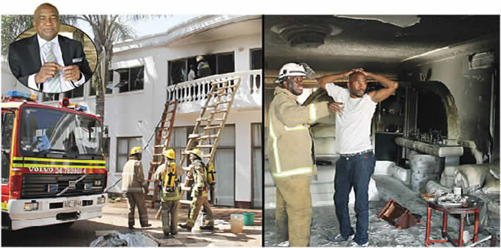 City of Harare fire brigade attends to Phillip Chiyangwa (inset) house which was gutted by fire in Borrowdale, Harare yesterday. Picture right: Chiyangwa's son Bruce, assesses the damage