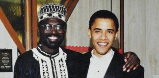 Close: The jovial note to Malik Abongo 'Roy' Obama (left) jokes about Malik's love life