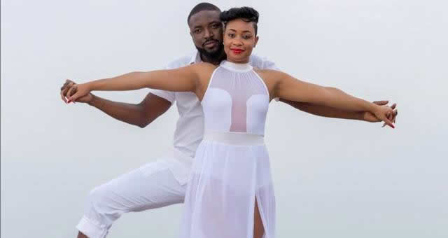 Pokello and Elikem pose in white