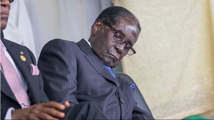 President Robert Mugabe sleeping through President Buhari's inauguration in Nigeria last week