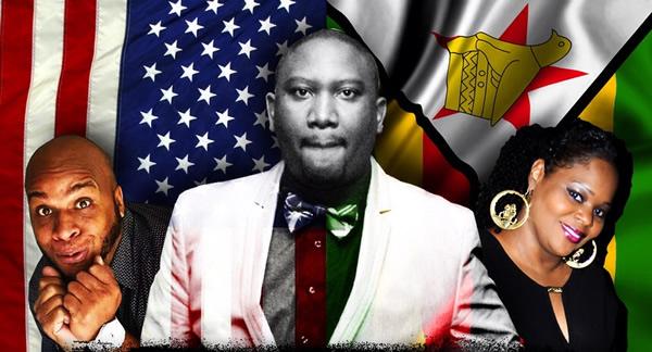United States based Zimbabwean comedian Alfred Kainga (centre)