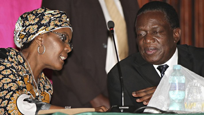 First Lady Grace Mugabe seen here with Vice President Emmerson Mnangagwa