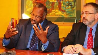 Gregory Simpkins (left) staff director for the US House Subcommittee on Africa, Health, Human Rights and International Relations and Counsel in the committee Piero Tozzi.