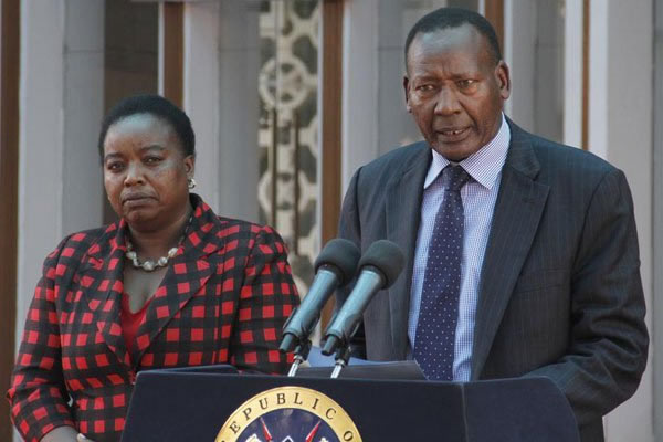 "Interior Cabinet Secretary Joseph Nkaissery addresses journalists at Harambee House in Nairobi on July 23, 2015. ""If CNN (journalists) are civilised, they should apologise for terming Kenya a 'hotbed of terror,'"" he said. PHOTO 