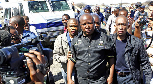 File Picture: Police deny Julius Malema the chance to address striking miners in Marikana in September 2012