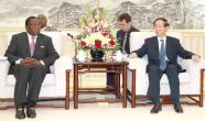 Wang Jiarui [right], head of the International Department of the Communist Part of China Central Committee, meets with visiting Zimbabwean Vice President Emmerson Mnangagwa, in Beijing, China. XINHUA PHOTO - DING HAITAO