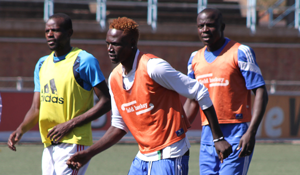 FIRE POWER . . . Dynamos' new arrivals Richard Kawondera (left), Rodreck Mutuma (centre) and Takesure Chinyama go through their paces during a training session at Rufaro on Friday. — (Picture by Kudakwashe Hunda)