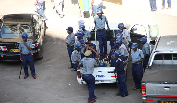 File picture of Riot Police outside Harvest House