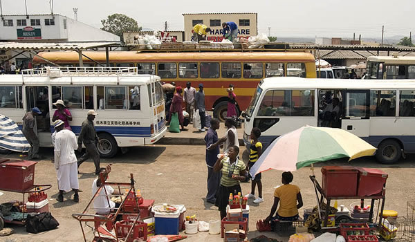 File picture of buses waiting to load passengers at a bus rank in Zimbabwe