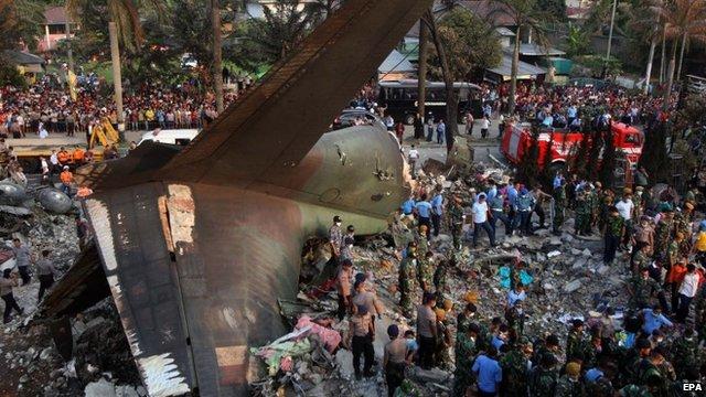 Indonesia transport plane crash death toll rises